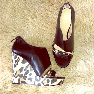 Calvin Klein leopard wedges with real fur strap